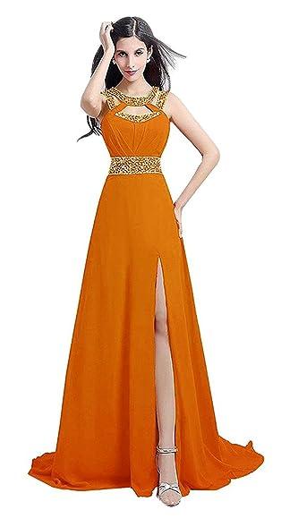 A Line Orange Prom Dress Sleeveless Beading Neckline Girl Cheap Party Dress