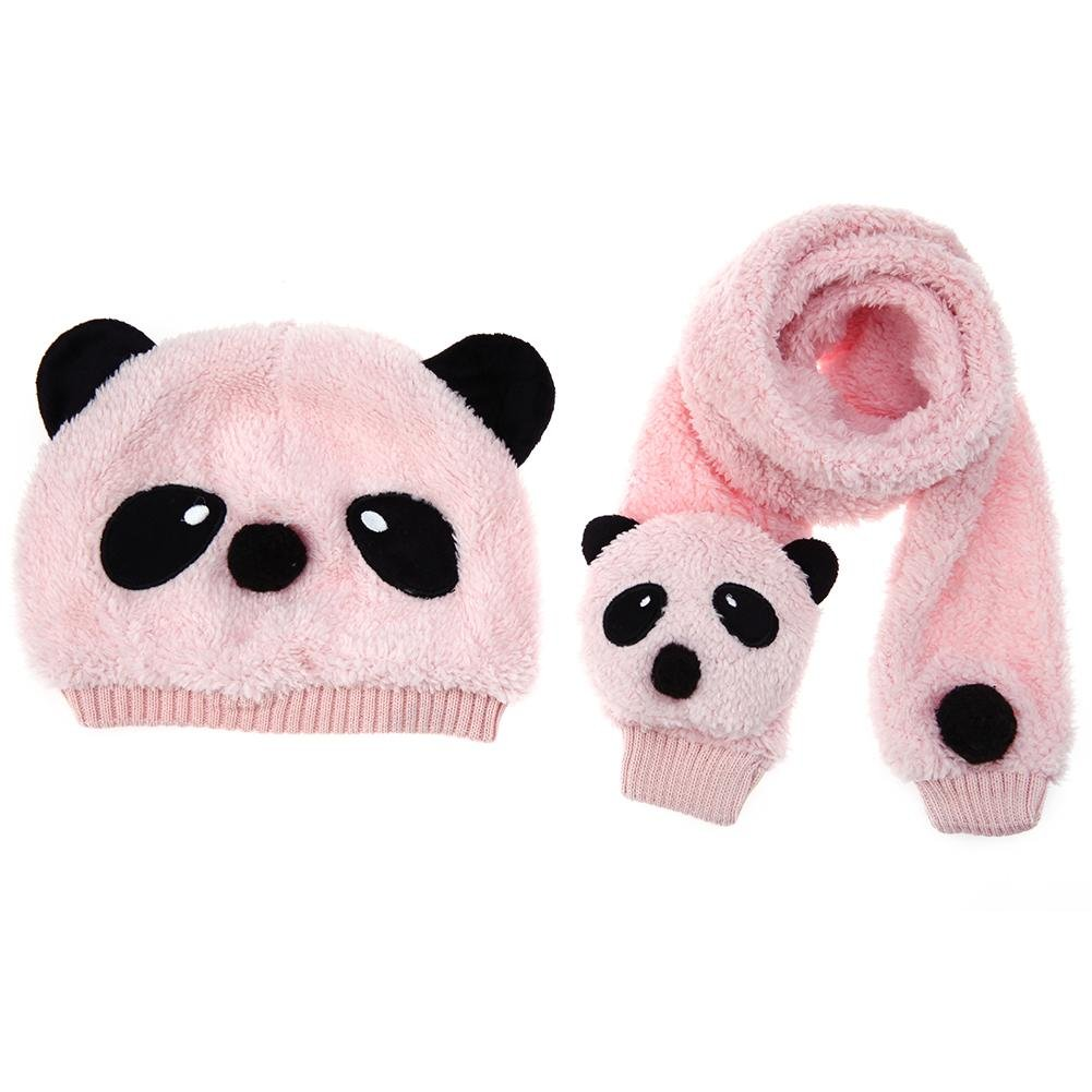 Chinatera Baby Kids Scarf and Hat Set Cute Cartoon Cotton Knitted Scarf