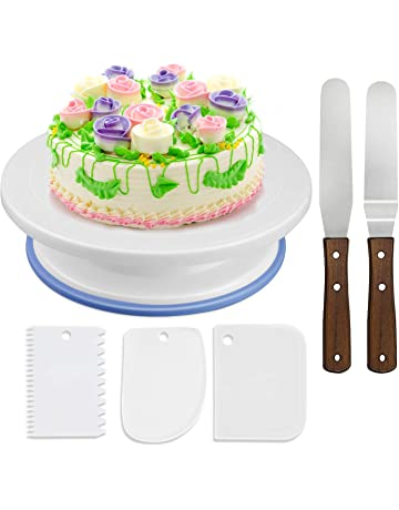 WisFox Cake Plate Rotating Stand Turntable Decorating With 2 Angled Palette Knife