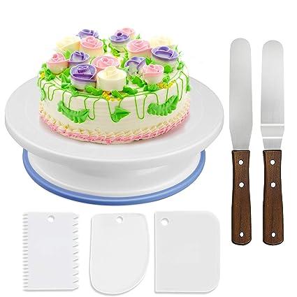 WisFox Cake Plate Rotating Cake Stand Cake Turntable Cake