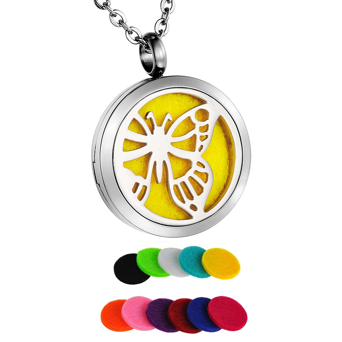 HooAMI Butterfly Round Aromatherapy Essential Oil Diffuser Necklace Pendant Locket Jewelry Gift Set TY BETY104860