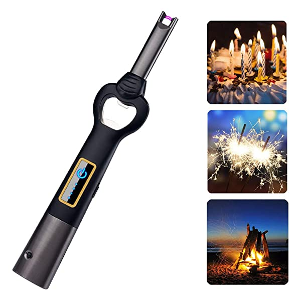 Arc Lighter USB Candle Lighter Flameless Rechargeable Electric Lighters Long Lighter Windproof Plasma Lighter with Bottle Opener and LED Flashlight for Candle,Gas Stove,Grill,BBQ Camping,Cooking