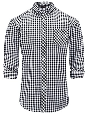 JEETOO Men's Long Sleeve Plaid Checkered Button Down Casual Dress Shirts