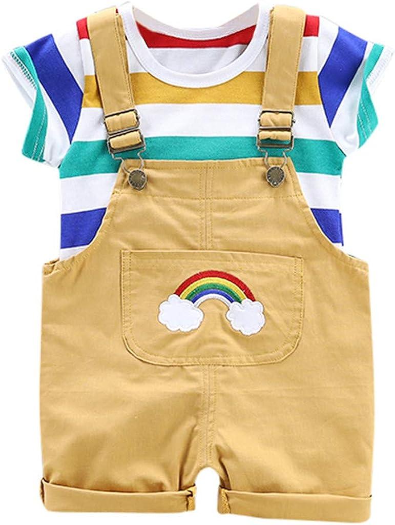 Bebe Mono Conjunto Niño Camiseta Manga Corta con Estampado de Dibujos Animados Camisa y Correa Cortos Pantalón Corto Trajes Unisex Verano Tops y Pantalones 6 Meses a 3 años