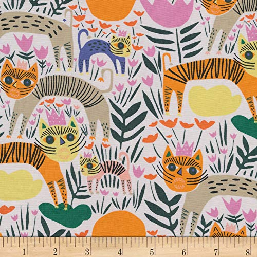 Cloud 9 Fabrics Organic Wild Queen of Beasts Multi Ivory Fabric by the Yard