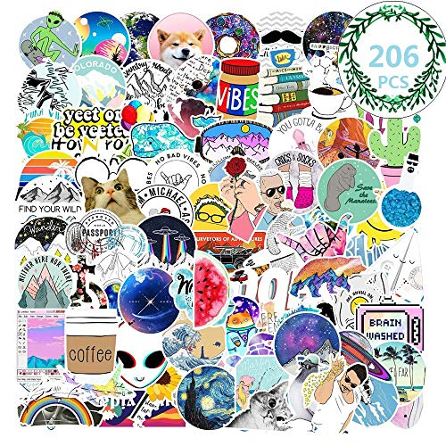2 Set VSCO Vinyl Waterproof Stickers Laptop Luggage Stickers, 206PCS Skateboard Guitar Travel Case Graffiti Sticker Door Car Motorcycle Bicycle Stickers for Children and Adults (Blue)