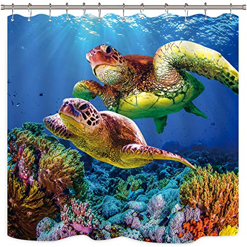 Riyidecor Sea Turtle Shower Curtain Ocean Creature Landscape Colorful Coral Reef Underwater Decor Fabric Set Polyester Waterproof 72x72 Inch 12-Pack PlasticHooks