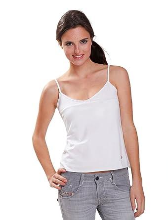 7fd41ba01fb EN SOLDE - Débardeur Diesel Femme Ottante 100 blanc surpiqures argentées -  T S  Amazon.co.uk  Clothing
