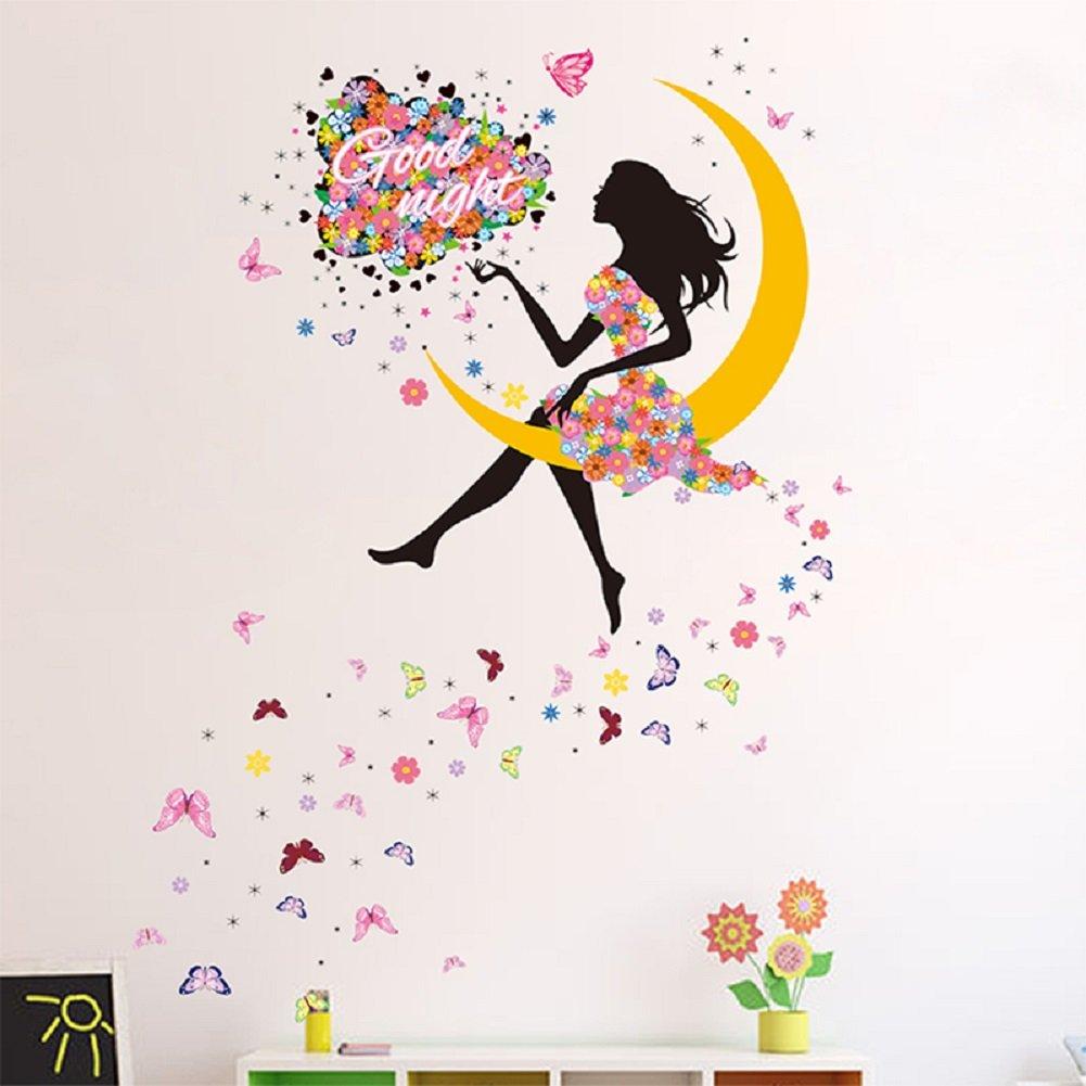 SWORNA Nature Serie Moon Butterfly Flower Girl Vinyl Removable DIY Kids Children Girls Home Wall Art Window Sticker Decor Decal - Bedroom Living Room Kindergarten Playroom Hallway School 55''H X 39''W