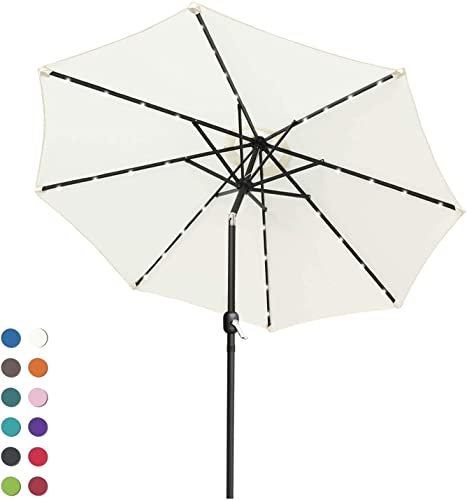 ABCCANOPY 9FT Patio Umbrella Ourdoor Solar Umbrella LED Umbrellas with 32LED Lights, Tilt and Crank Table Umbrellas for Garden, Deck, Backyard and Pool,12 Colors, Light Beige