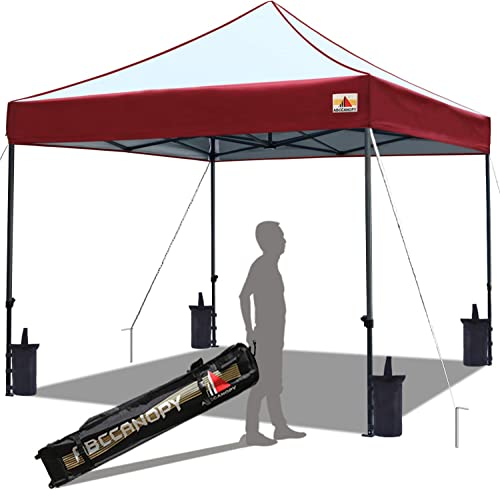 ABCCANOPY 10×10 Canopy Tent Outdoor Canopy Pop up Canopy Commercial Instant Shelter with Wheeled Carry Bag, Bonus 4 Canopy Sand Bags, Burgundy
