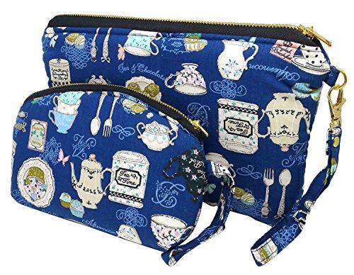 (BDJ Set of 2 Sweet Print Fabric Cosmetic Accessory Pencil Bag Purse Wristlet Clutch (Tea Time))