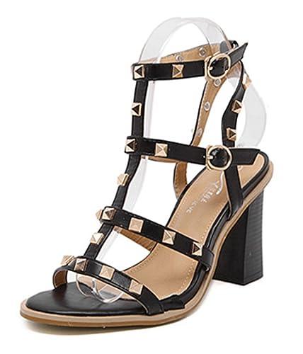Easemax Damen Elegant Offene Zehen Low Top T-Spange High Heels Nieten Sandalen Aprikosenfarben 36 EU xjyh1s7xFY