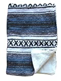 Del Mex Baja Baby Mexican Baby Toddler Blanket paired with Soft Sherpa (Navy Blue)