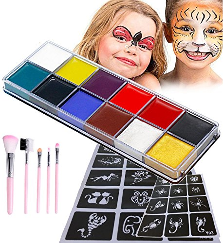 Face Paint, LEShop Face Paint for Kids & Adults, Best Quality Face Paint Party Supplies for Birthday Parties, Cosplay, Holloween Costume Makeup, Face Paint Brushes Included (12 (Halloween Face Paints For Kids)