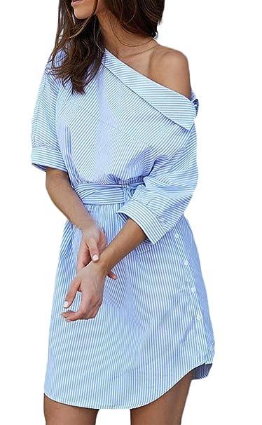 8b4b733b8495 Donna Camicia Vestito A Righe Con Cintura Estivi Corta Eleganti Abito Blusa  Obliquo Spalla Manica 3 4 Sciolto Casual Ufficio Vestiti Mini Abiti Moda ...