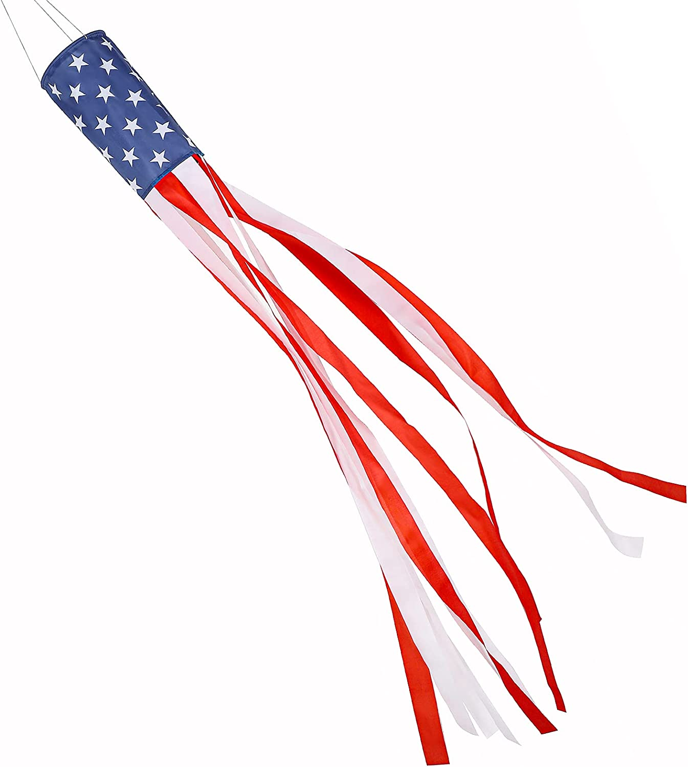 LessMo 60 Inch American Flag Windsock, Stars and Stripes USA Patriotic Decorations, Outdoor Hanging 4th of July Decor for Independence Day Flag Day Memorial Day and More