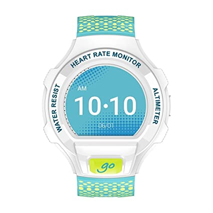 Alcatel OneTouch Go Watch Android and iOS compatible- Smart Watch Water, Dust & Shock Resistant (White/Lime&Blue)