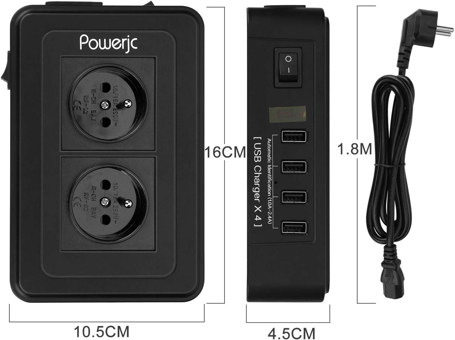 5V,2.1A ,et 3 Universel Prise Multiprise Parasurtenseur Parafoudre,Bloc Multiprise avec 3 Prises Electrique et 4 Ports USB UK//US//AU ,Interrupteur,Adaptateur Douille,Cordon de 2m
