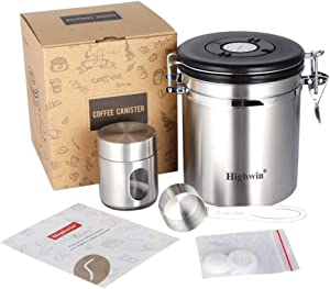 Highwin Stainless Steel Airtight Coffee Canister, 16oz Vacuum Sealed Container with Cantilever Lid, CO2-release Valve and Date Tracker, Measuring Scoop, 2 Extra valves and 1 Travel Jar, Silver