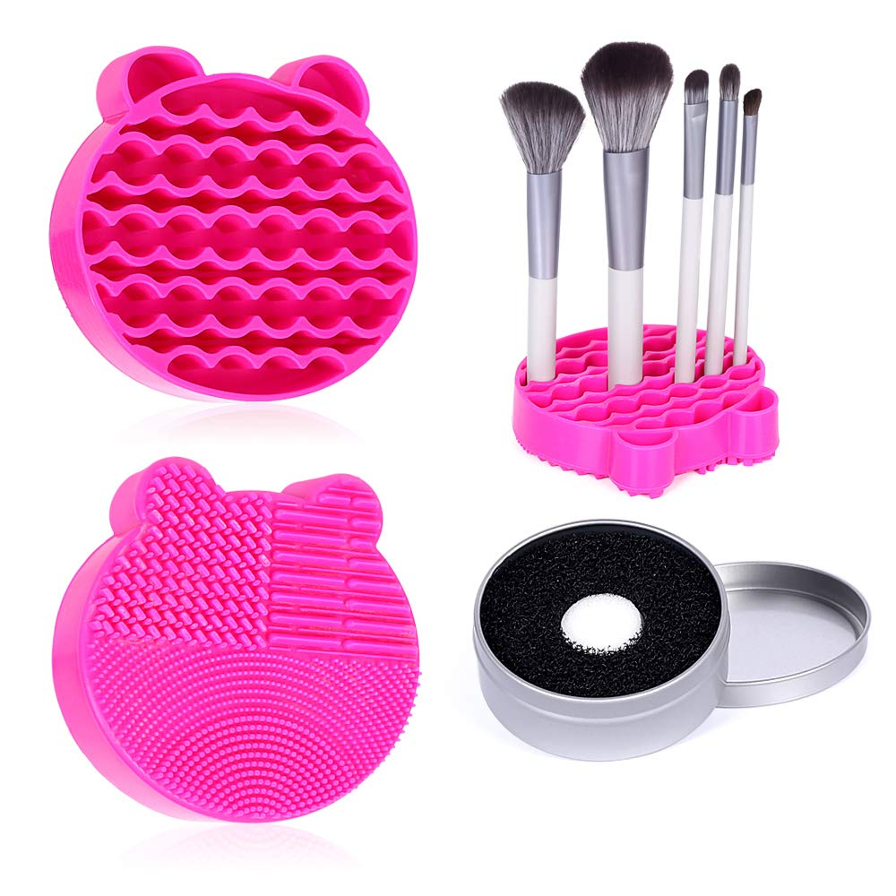 Silicone Makeup Brush Cleaner Mat, 2 in 1Brush Cleaning Mat,Brush Cleaner Pad with Brushes Drying Holder, Brush Scrubber Mat Portable Washing Tool with Removal Sponge Dry Makeup (Rose red)
