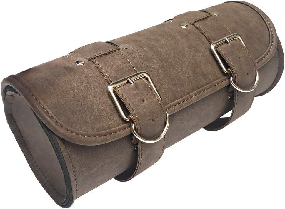 KYN Motorcycle Handlebar Bag Sissy Bar Side Tool Bag Front Fork Roll Barrel Bag for Harley Sportster Softail Dyna Bag Brown