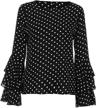 Camisa Camisa Suelta con Cuello Redondo y Estampado de Lunares Sueltas for Mujer Blusa Casual for Mujer Tops Plus Damas (Color : Black, Size : M): Amazon.es: Hogar