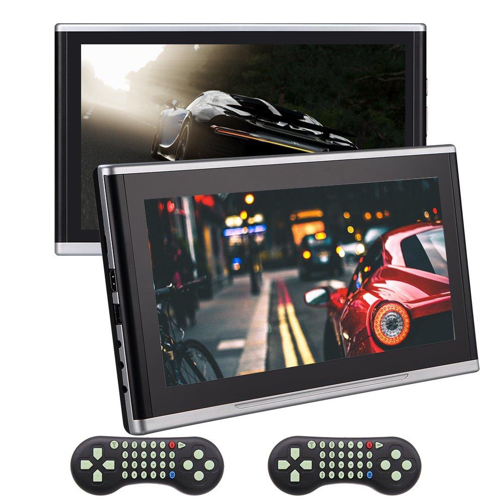 HDMIポートAV入力、リモートおよび32ビットゲームデュアル10.1インチEinCarヘッドレストDVD CDプレーヤーHD 1080P LCDスクリーンポータブルマルチメディアヘッドレストモニター後部座席のUSBプレーヤー B07CCMRG1T