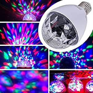Weksi Mini Crystal Ball Stage Lights Led E27 RGB Rotating Stage Light For Party Disco DJ Bar, White