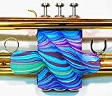 Neoprene Trumpet Valve Guard with velcro in over 60 colors and patterns by Legacystraps Purple Waves Design