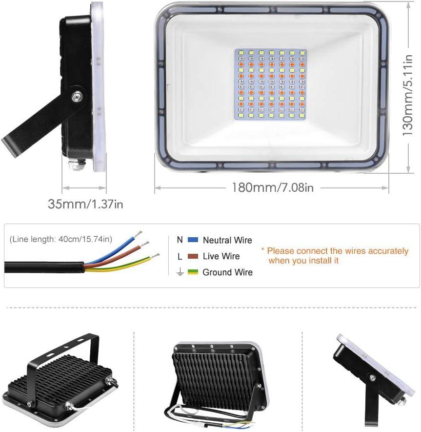 16 colores y 4 modos Proyector LED Exteriore con control remoto,Impermeable IP67 Regulable Luz de seguridad para Jard/ín,Terraza 2 Pack 50W Foco Led RGB Con funci/ón de memoria Partido,Navidad