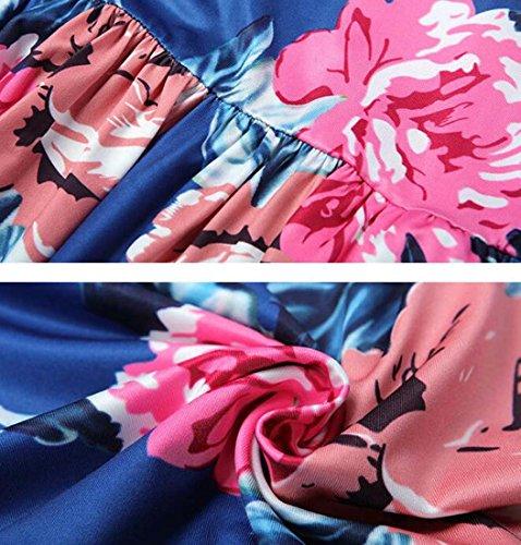Noche Largo Floral Vestido de Estampado de XIAOXIAO Color de Azul con una Fiesta Largo XXL de Vestido de de tamaño Manga Larga Boho HEFEI Vestido Mujeres línea Maxi UBxdw8B