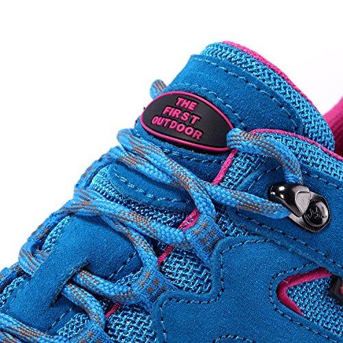 De Eerste Outdoor Vrouwen Luchtkussen Wandelschoen Ademende Running Outdoor Sportschoenen Sneakers Sky Blue / Rose