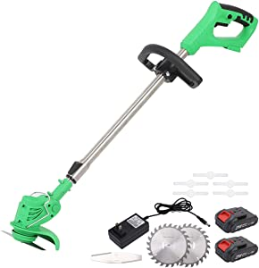 MAXMAN 47 in Cordless String Trimmer,21V Lithium Battery Garden Grass Trimmer, Suitable for Lawn Garden Pruning. Telescopic Rod and Adjustable Machine Head Includes 2 Batteries