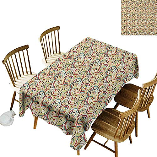 kangkaishi Easy to Care for Leakproof and Durable Long tablecloths Outdoor Picnic Rhombuses Square Tiles and Circles Colorful Abstract Circular Bullseye Pattern W60 x L84 Inch Multicolor