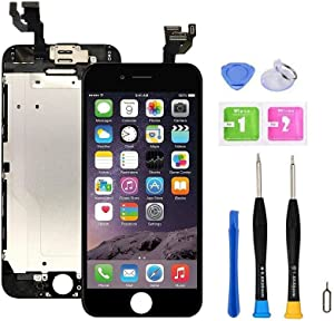 """Screen Replacement Compatible with iPhone 6 4.7"""" Full Assembly -Touch Display Digitizer with Sensors and Front Camera, Compatible with iPhone 6 4.7inch (Black)"""