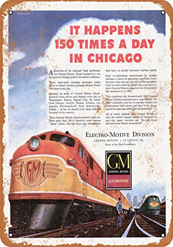Wall-Color 10 x 14 Metal Sign - 1948 GM EMD Diesel Locomotives - Vintage Look