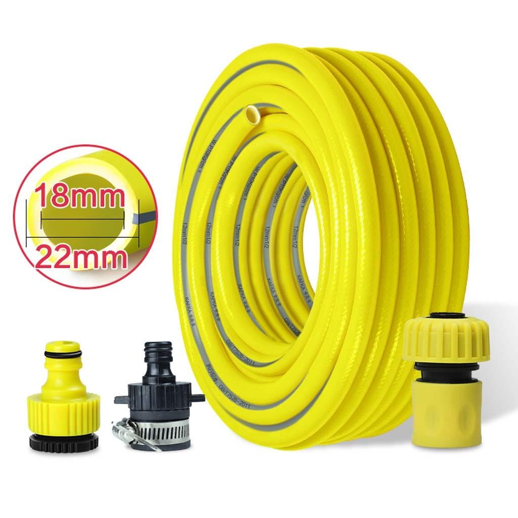 家庭用配水管耐圧防爆PVCガーデンホース洗車花散水花 (Color : Yellow, Size : 30m) B07STDML1W Yellow 30m