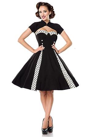 Schwarzes Vintage Kleid mit Bolero 50062 - sexy Damenkleid von Belsira   Amazon.de  Bekleidung e9c843f112