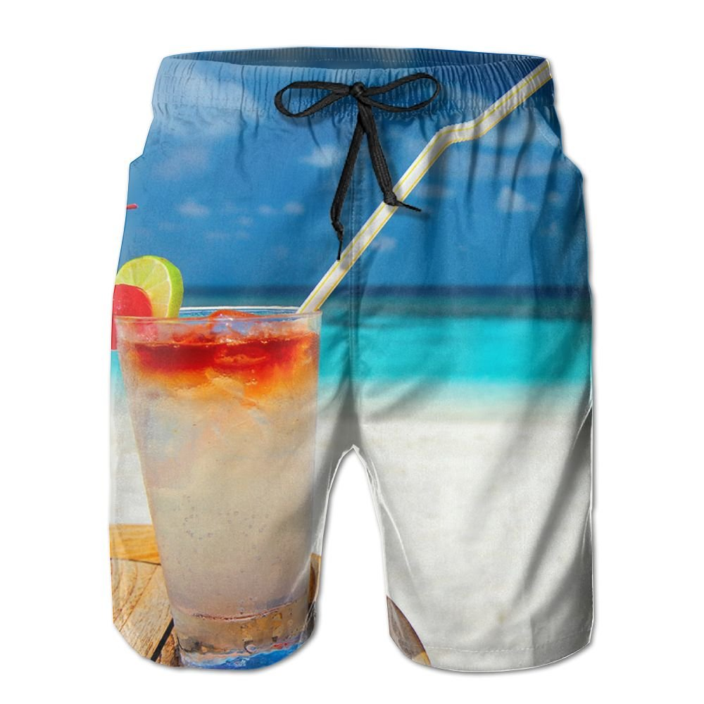 JDHFAF Beach Drinks Mens Beach Board Shorts Quick Dry Summer Casual Swimming Soft Fabric with Pocket
