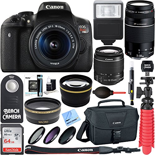 Canon T6i EOS Rebel DSLR Camera w/ EF-S 18-55mm & 75-300mm III Lens Kit + Accessory Bundle 64GB SDXC Memory + SLR Photo Bag + Wide Angle Lens + 2x Telephoto Lens + Flash + Remote + Tripod & More by Beach Camera