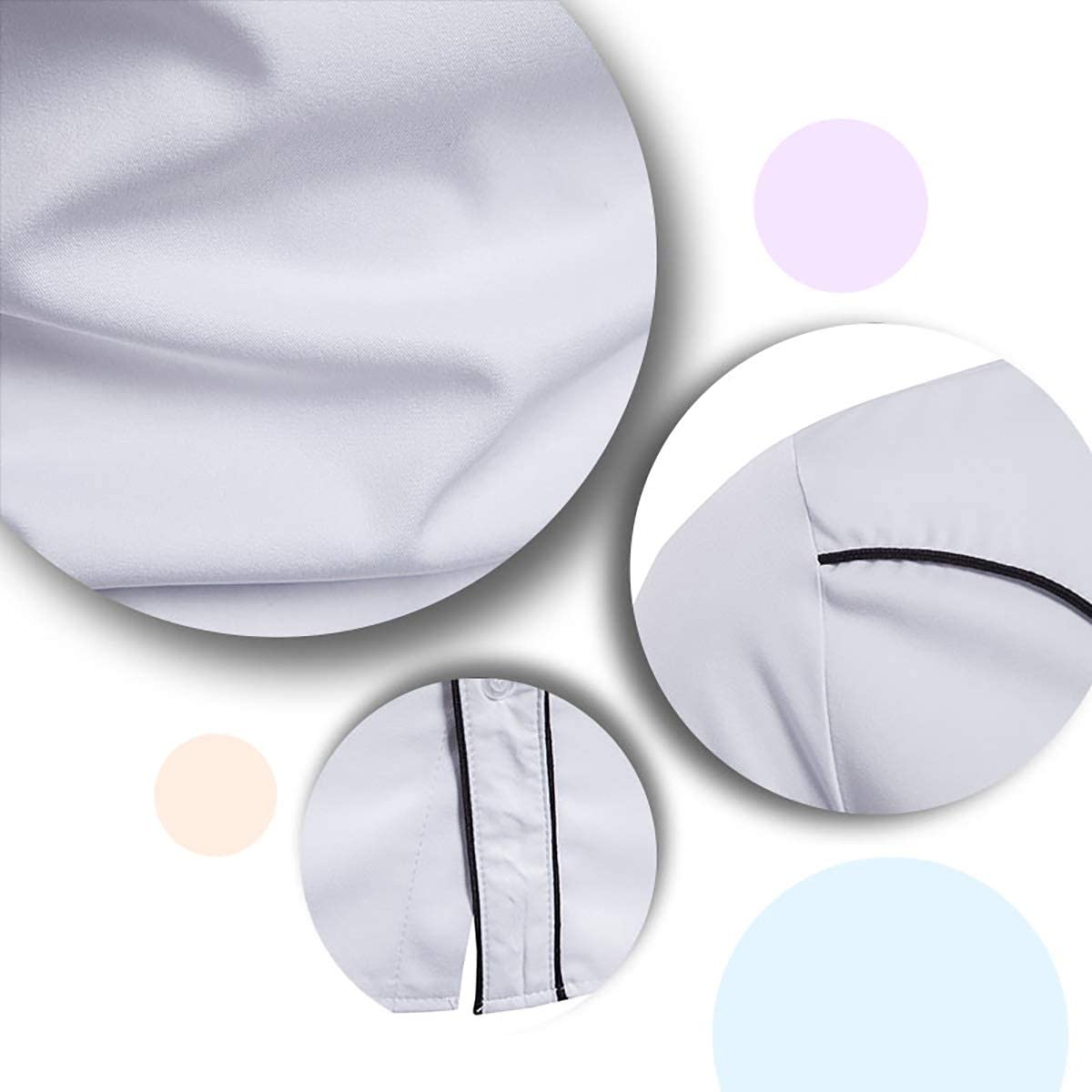 Boyland Mens Dress Shirts Long Sleeeve Club Collar Piping Shirt Business 3 Colors