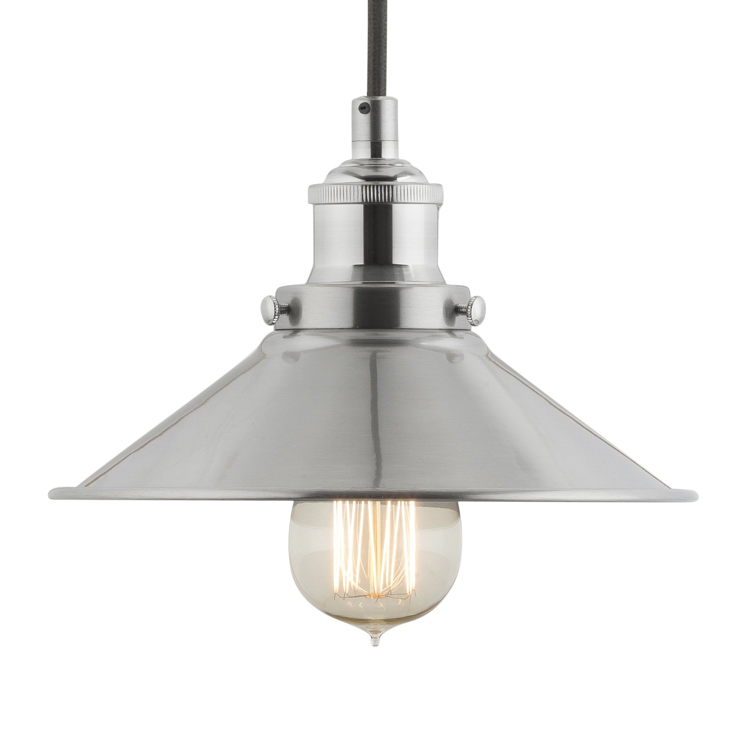 BFXQY industrial kitchen light fixtures Linea di Liara Andante Industrial Factory Pendant Lamp Brushed Nickel One Light Fixture with Metal Shade Fabric Wrapped Cord Exposed Hardware 5 Inch