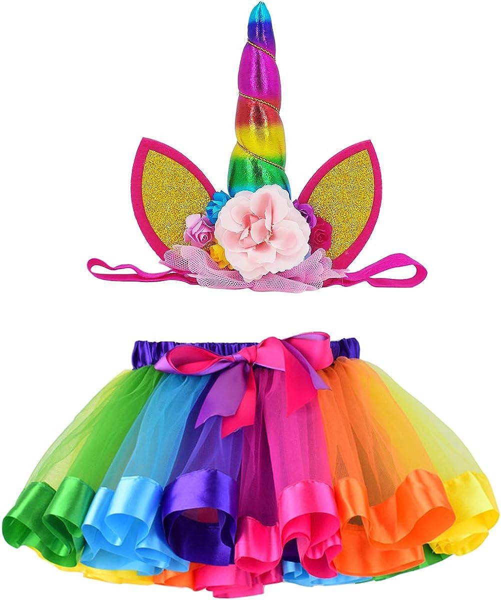 LYLKD Tulle Rainbow Tutu Skirt for Newborn Baby Girls 1st Birthday Photography Outfit Sets with Unicorn Headband