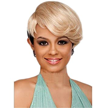 Amazon Com Kanuosi Synthetic Short Straight Blonde Cute Pixie Cut