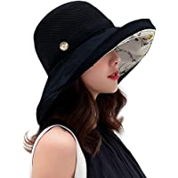 Women Mesh Sun Hats Summer Beach UV Protection UPF Packable Wide Brim Chin Strap