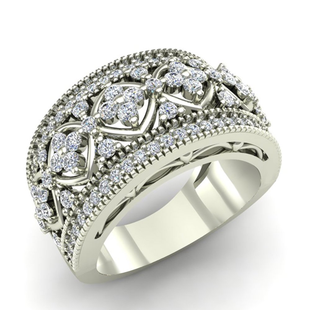 0.95 ct tw Cocktail Diamond Ring Filigree Style 14K White Gold (Ring Size 9) by Glitz Design