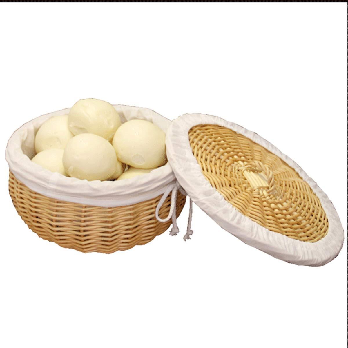Muziwenju Bread Basket, Rattan Basket, Insulated Wicker Bread Basket with Lid, Family Restaurant Woven Egg Basket, Vegetable Basket, Round (Size : M)