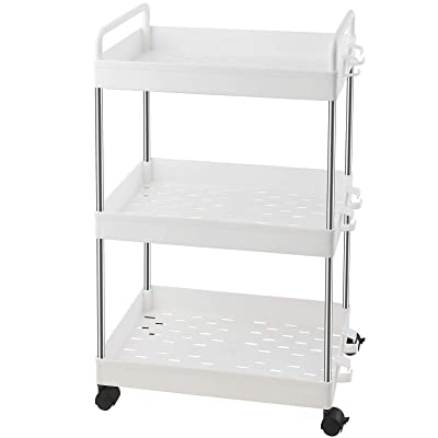 Mobile Shelving Unit with Handle Ronlap 3 Tier Classic Storage Cart Black Rolling Utility Cart Slide Out Storage Organizer Tower for Kitchen Bathroom Laundry Room