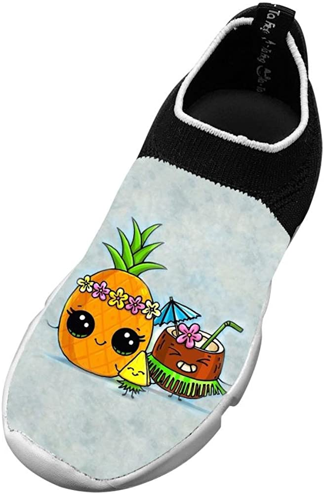 Lovable Coconut Pineapple New Slim Fit Flywire Knitting 3D Printing Casual Shoes For Boys Girls